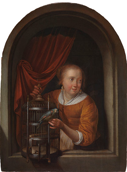 A Young Girl in a Niche with a Parakeet