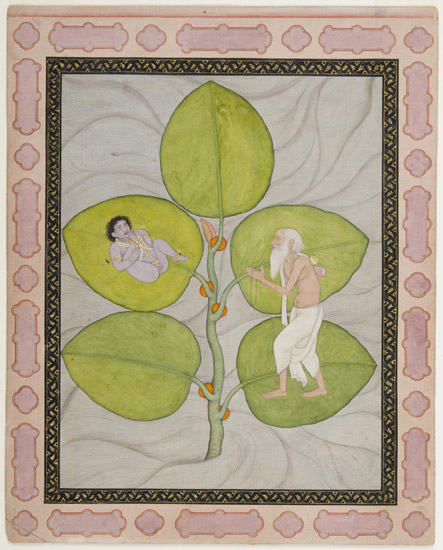 Markandeya Discovers Krishna on the Peepal Leaf