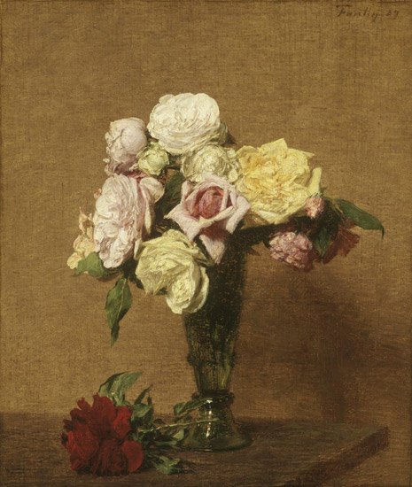 Still Life with Roses in a Fluted Vase