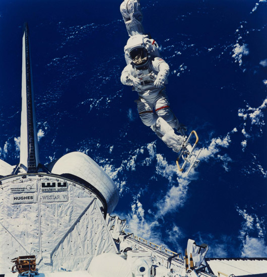 Mission Specialist Bruce McCandless II Making the First Untethered Space Walk With Manned Maneuvering Unit (MMU), Mission 41-B