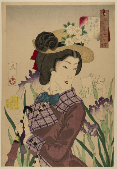 Strolling: A Fashionable Married Woman of the Middle Meiji Period (1880s) Dressed in Western Style