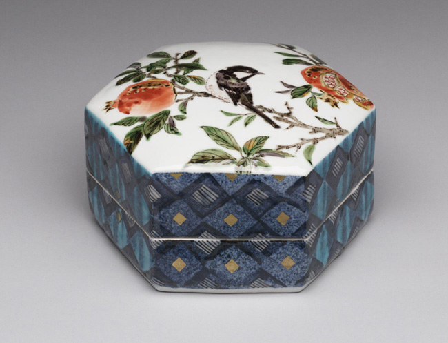 Hexagonal Box with Design of a Chickadee and Pomegranates