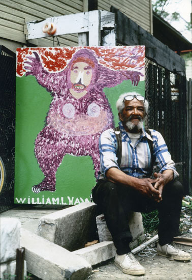 William Hawkins with <i>King Kong</i> outside his Columbus, OH home. c. 1987