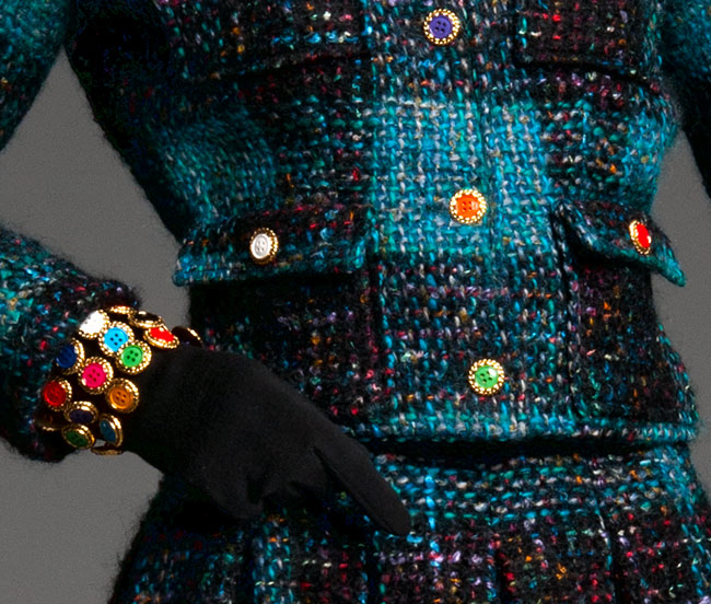 Woman's Ensemble: Jacket, Skirt, Gloves, and Lapel Pins (detail)